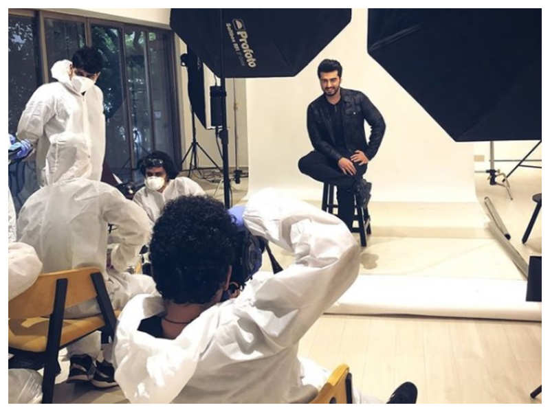 Arjun Kapoor shares a picture from the set as he resumes shooting after four months