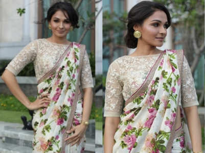 Andrea Jeremiah's off white, pink floral sari