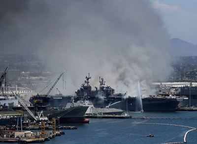 76931964 21 injured in hearth aboard ship at Naval Base San Diego