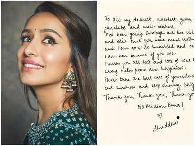 Shraddha pens heartfelt note for her fans