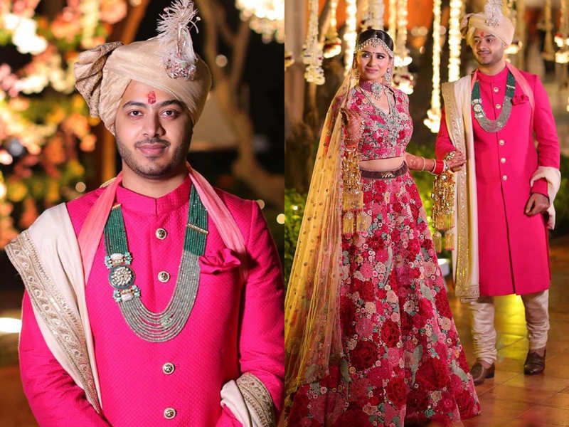 This groom wore a fuchsia pink sherwani on his wedding and it's the hottest trend this season