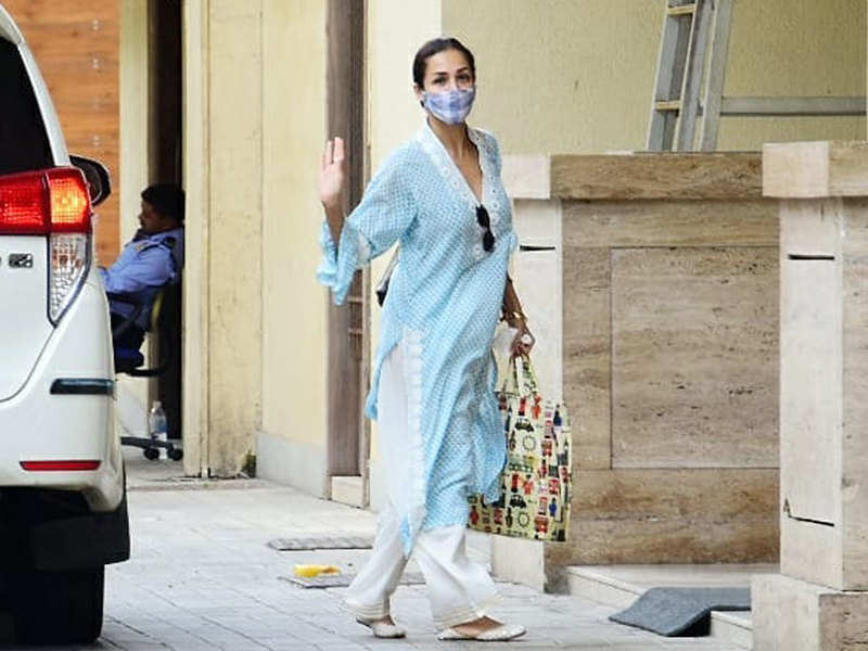 Pictures: Malaika Arora steps out from home, gives Summer style goals in a breezy blue kurta