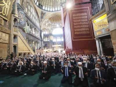 Turkey and Greece exchange harsh words over Hagia Sophia prayers