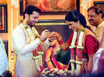 Inside pictures of Telugu actor Nithiin and Shalini's Mehendi and Sangeet ceremony