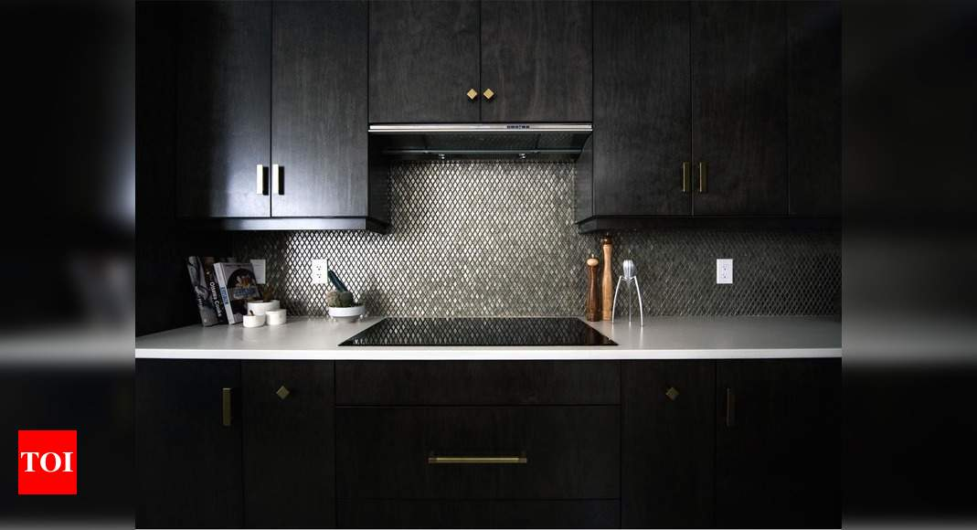 Add a pop of shine to kitchen cabinets with metallic ...