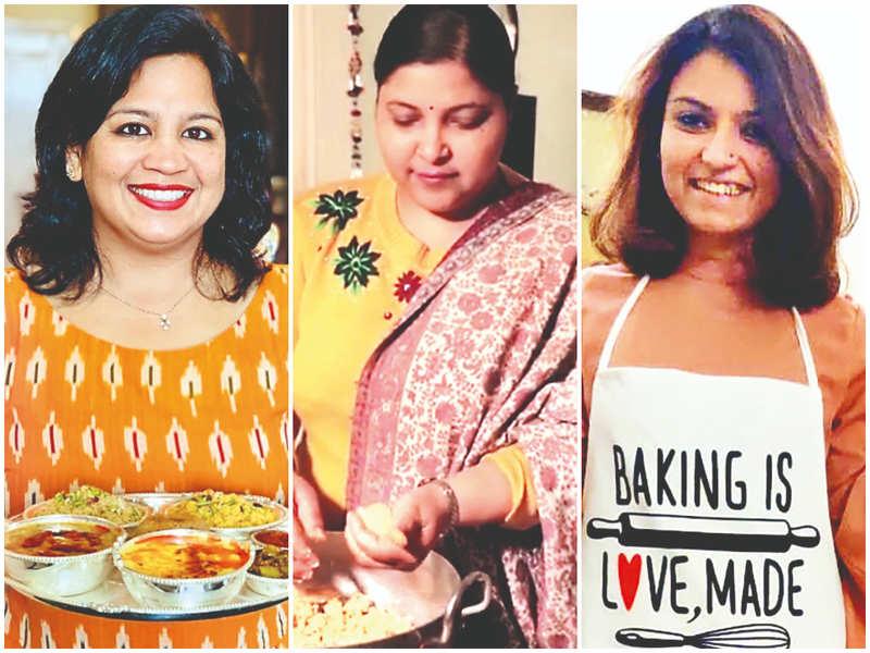 (L-R) Home chefs Abhilasha Jain, Amita Garg and Ashima Handa have seen a sudden rise in the demand for homemade food