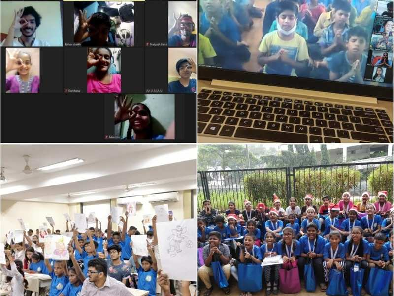 Screenshots of children attending e-school (top two) and how life at school used to be before COVID-19 hit Mumbai