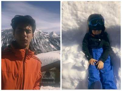 Suhana shares adorable pics of Aryan & AbRam
