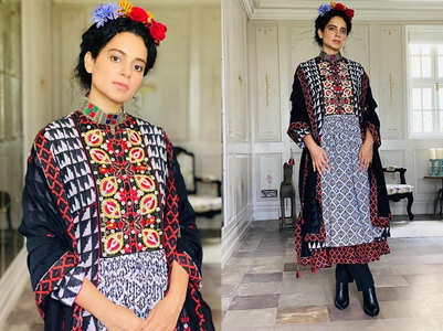 Kangana Ranaut gives Frida Kahlo vibes in this boho black kurta set