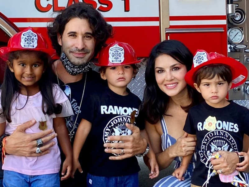 Sunny Leone takes her kids to the fire station for a lesson about fire safety