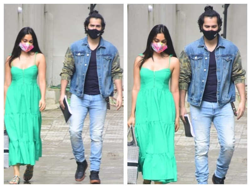 Photos: Varun Dhawan and Kiara Advani gets snapped outside a production office as they step out in the city
