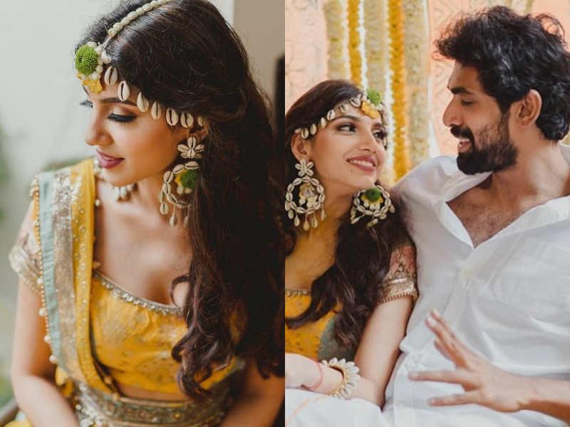Miheeka Bajaj-Rana Daggubati wedding: Bride-to-be stuns in yellow lehenga and seashell jewellery on Haldi day