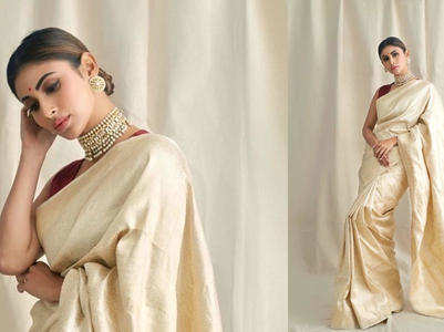 Mouni Roy looks like a Bengali bride in this gold sari