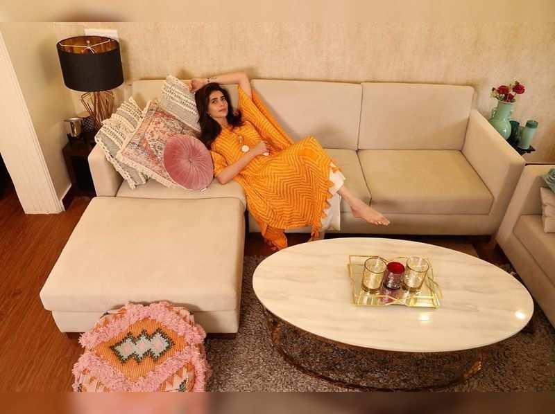 Karishma Tanna's yellow kaftan is perfect for Janmashtami celebrations
