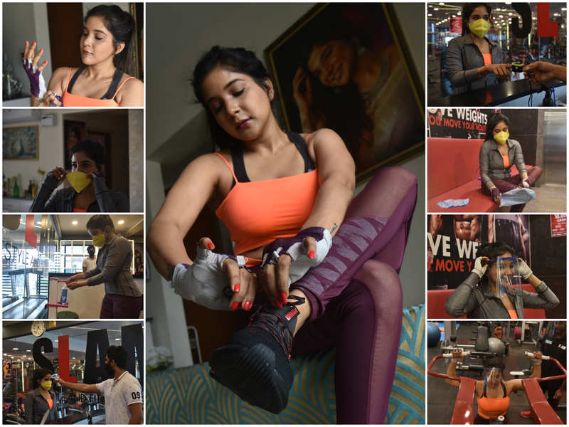 Sakshi hits the gym, armed with face shield, mask and a lot of care