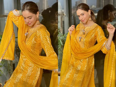 Aamna Sharif's mango gold salwar kameez is beautiful