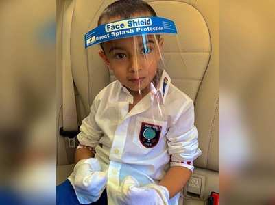 Pic: Salman's nephew Ahil sports a face shield