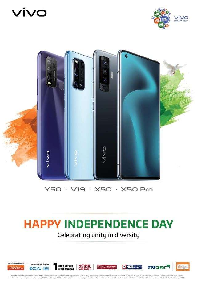 Vivo Independence Day Sale: Get offers and discounts on Vivo X50, V19 and Y50 smartphones