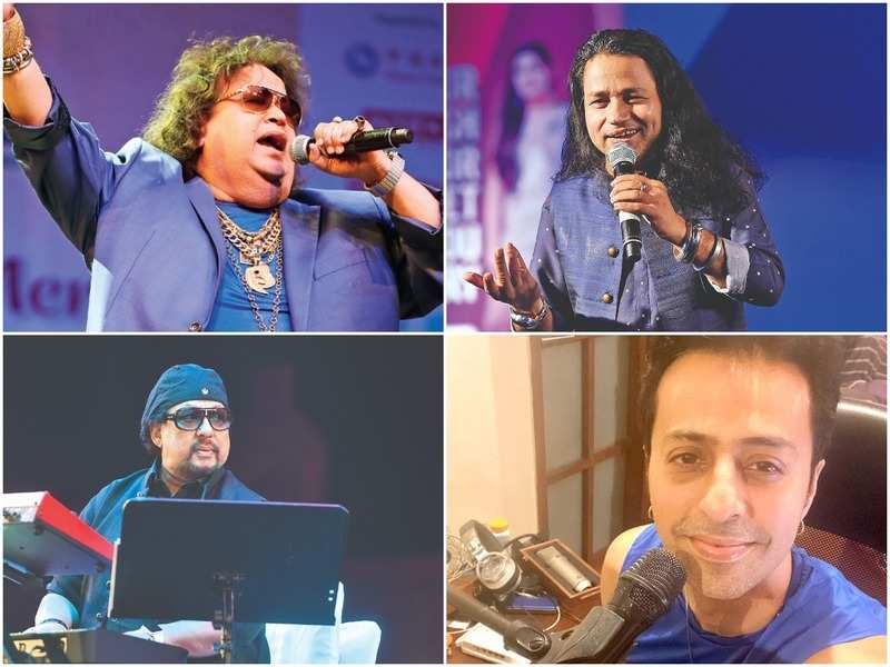 (Clockwise) Bappi Lahiri, Kailash Kher, Salim Merchant and Louis Banks