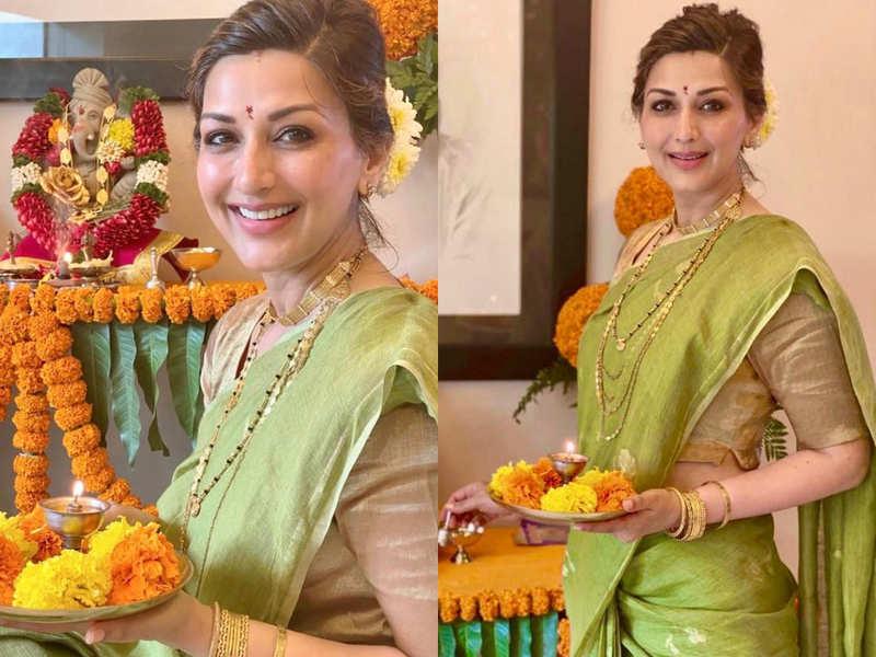 Sonali Bendre looks like true 'Mumbai chi mulgi' in basil-hued sari for Ganesh Utsav