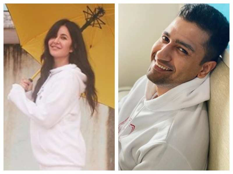 Amidst dating rumours, Katrina Kaif and Vicky Kaushal share pictures in a similar white hoodie