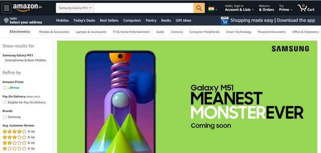 Samsung Galaxy M51 gets listed on Amazon, to launch soon in India
