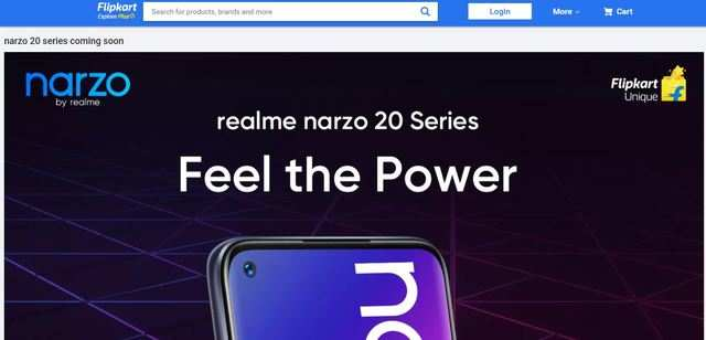 Realme Narzo 20 series phone page appears on Flipkart ahead of September 21 launch