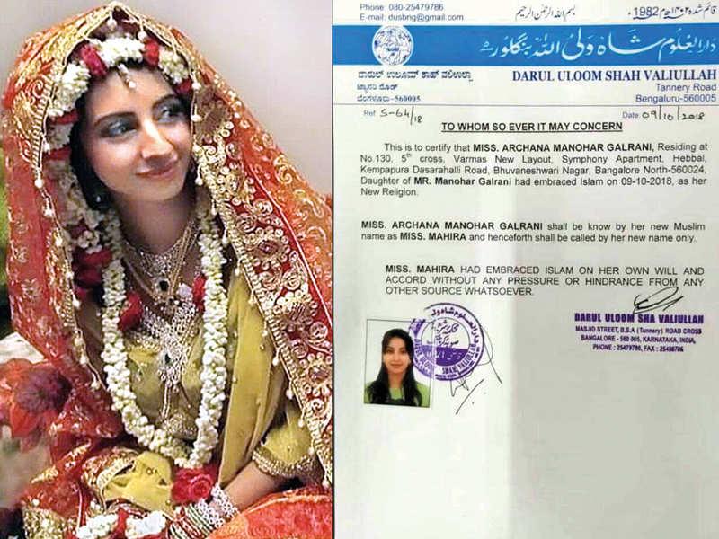 Did Sanjjanaa Galrani change her religion and name in 2018?