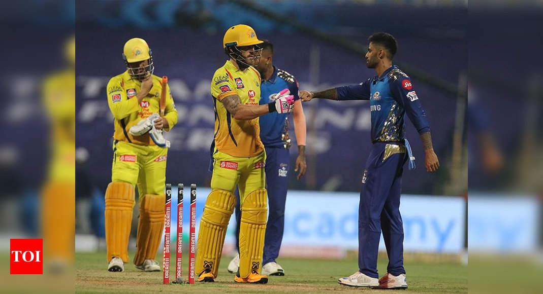 MI vs CSK Highlights, IPL 2020: Ambati Rayudu, Faf du Plessis guide Chennai Super Kings to 5-wicket win i - Times of India