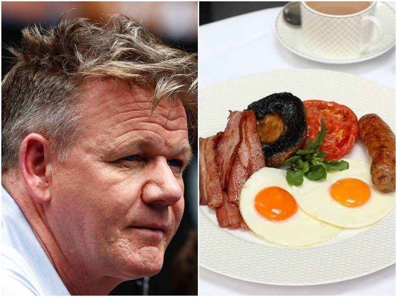 Gordon Ramsay and (R) the breakfast image that he shared online