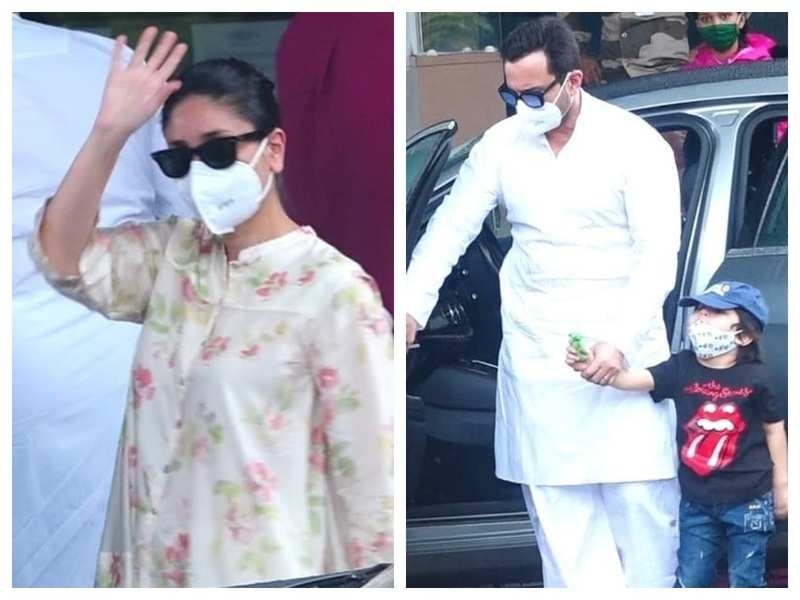Photos: Kareena Kapoor Khan jets off to Delhi for the shoot of 'Laal Singh Chaddha' along with Saif Ali Khan and son Taimur