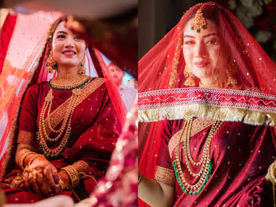 This Pakistani bride wore a dark red sari