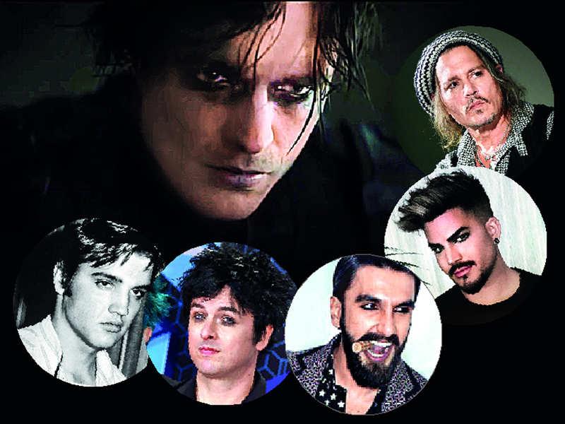 From smouldering to subtle, men step up their eye makeup game (Clockwise: Robert Pattinson, Johnny Depp, Adam Lambert, Ranveer Singh, Billie Joe Armstrong, Elvis Presley)