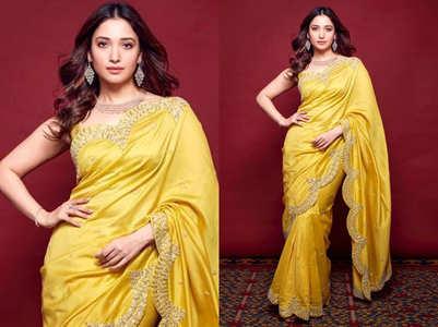 Tamannaah Bhatia's yellow sari look is alluring