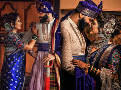 This bride wore a blue Nauvari sari