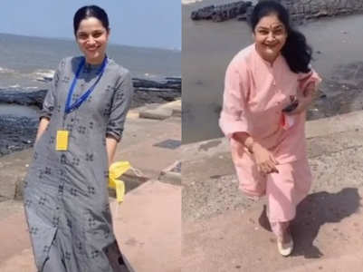 Ankita enjoys by the beach with her mom