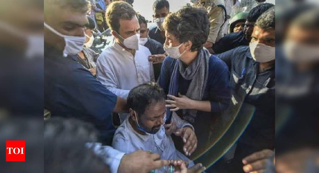 Priyanka Gandhi comes to rescue of party worker during police 'action' at DND | India News – Times of India