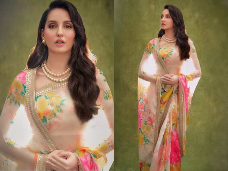 Nora Fatehi gives princess vibes in this beautiful floral sari