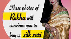 These photos of Rekha will convince you to buy a silk sari