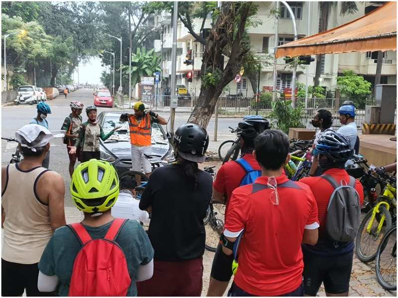 Cyclists come together during the event at Dadar