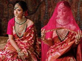This bride chose a red Banarasi sari for her wedding
