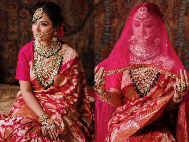 This bride from Chandigarh chose a red Banarasi sari for her wedding and left everyone speechless