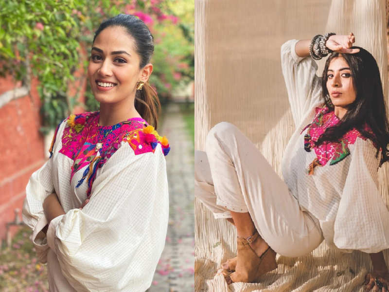 Mira Rajput Kapoor's balloon sleeves top with patchwork is this season's hot pick