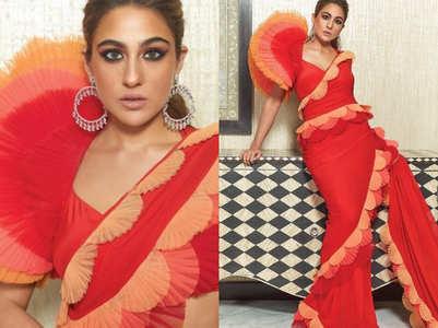 "Sara Ali Khan trolled for her dramatic ruffled sari, called ""Nataraj Pencil"""