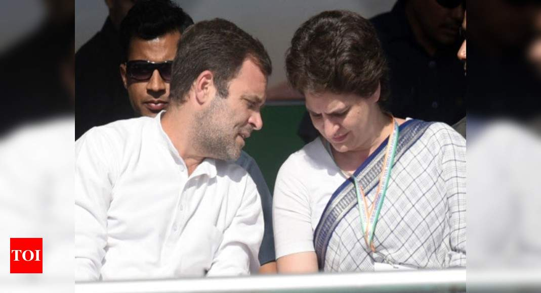 MP bypolls: Rahul, Priyanka lead Congress star campaigner list - Times of India