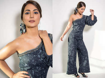Hina Khan's denim one-shoulder jumpsuit is sexy yet cute