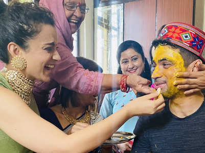 Kangana enjoys brother's wedding rituals