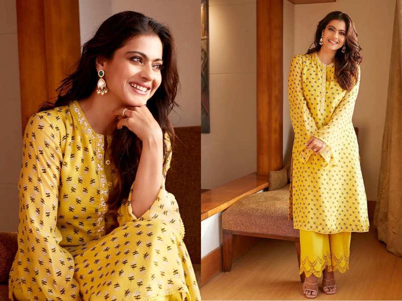 Kajol's yellow printed kurta with pants design is perfect for the festive season