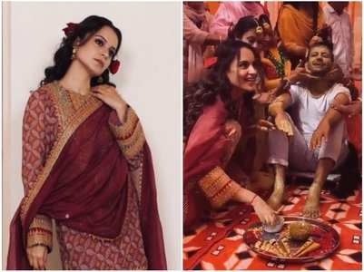 Kangana enjoys her brother's Haldi ceremony