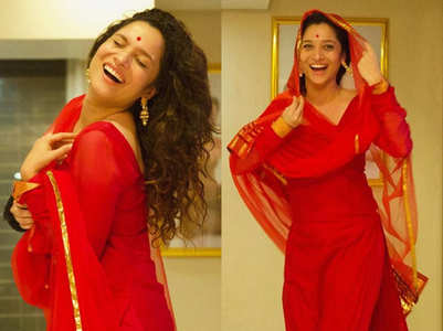Ankita Lokhande's ravishing look in red suit